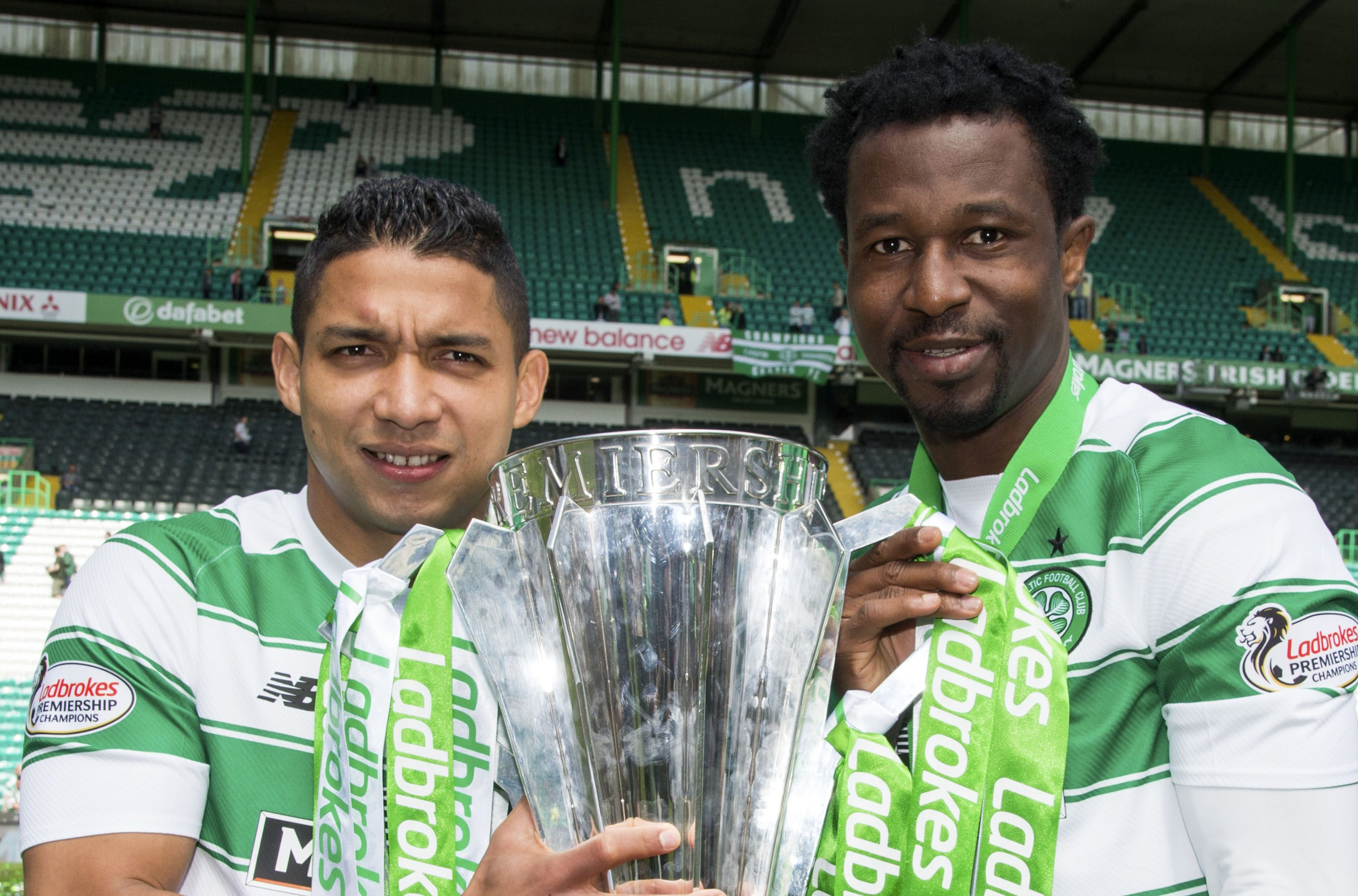 Emilio Izaguirre (left) and Efe Ambrose could be set to leave Celtic (SNS Group / Rob Casey)