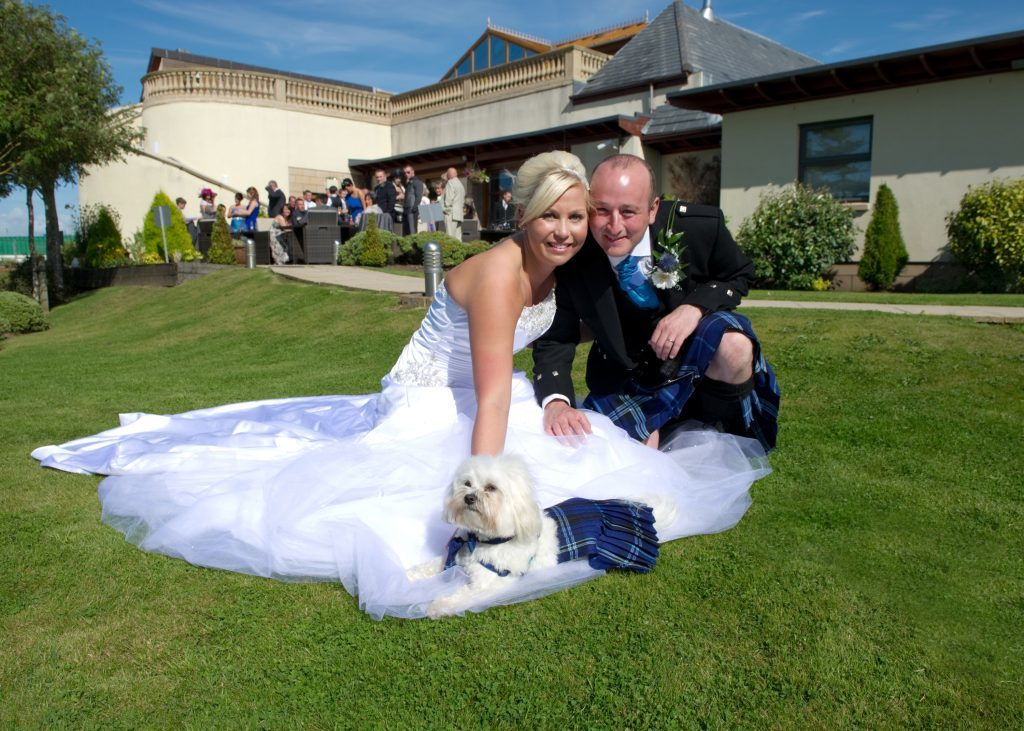 Robert and Rachel Conn with their dog Alfie at their wedding in 2011 (ImacImages Photography)
