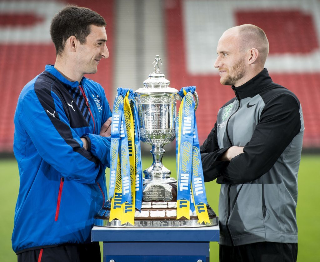 Rangers captain Lee Wallace (left) and Hibernian captain David Gray look ahead to their forthcoming clash (SNS Group / Craig Williamson)