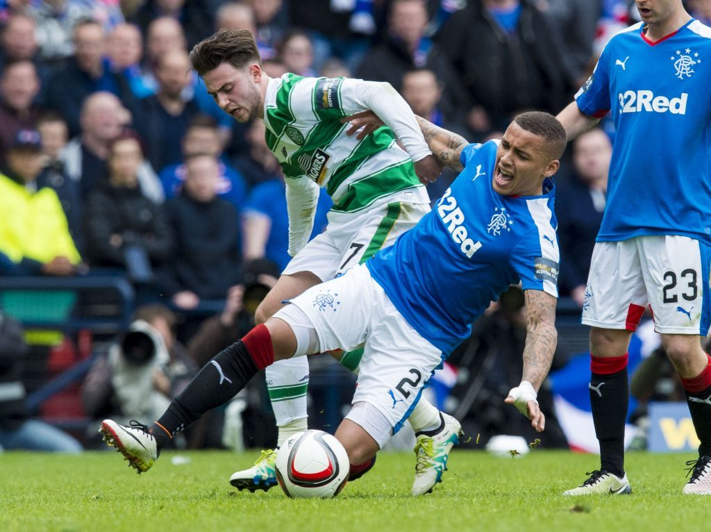 James Tavernier in action for Rangers with Patrick Roberts of Celtic (SNS Group)