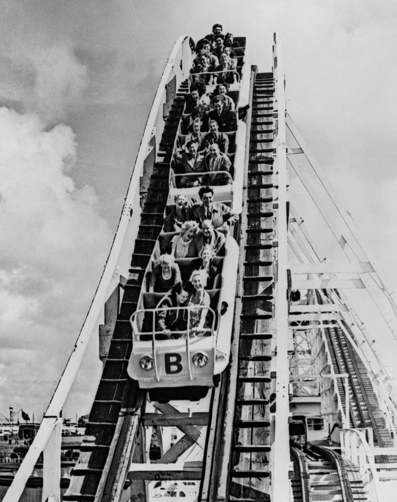 1950: Ups and downs on the newly-opened wooden rollercoaster.