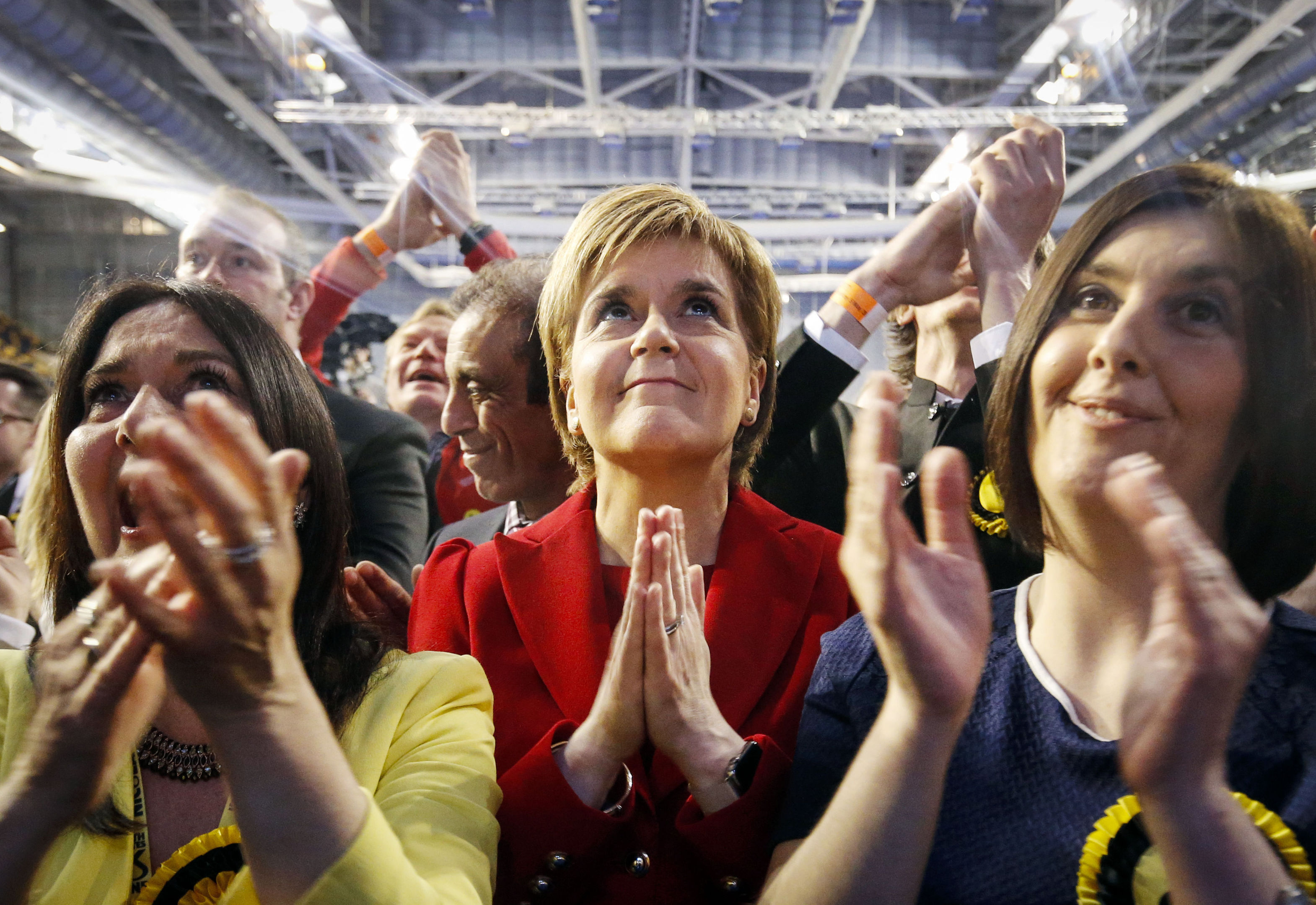 Nicola Sturgeon reacts as the results come in for the Scottish Parliament Elections 2016 (Danny Lawson/PA)