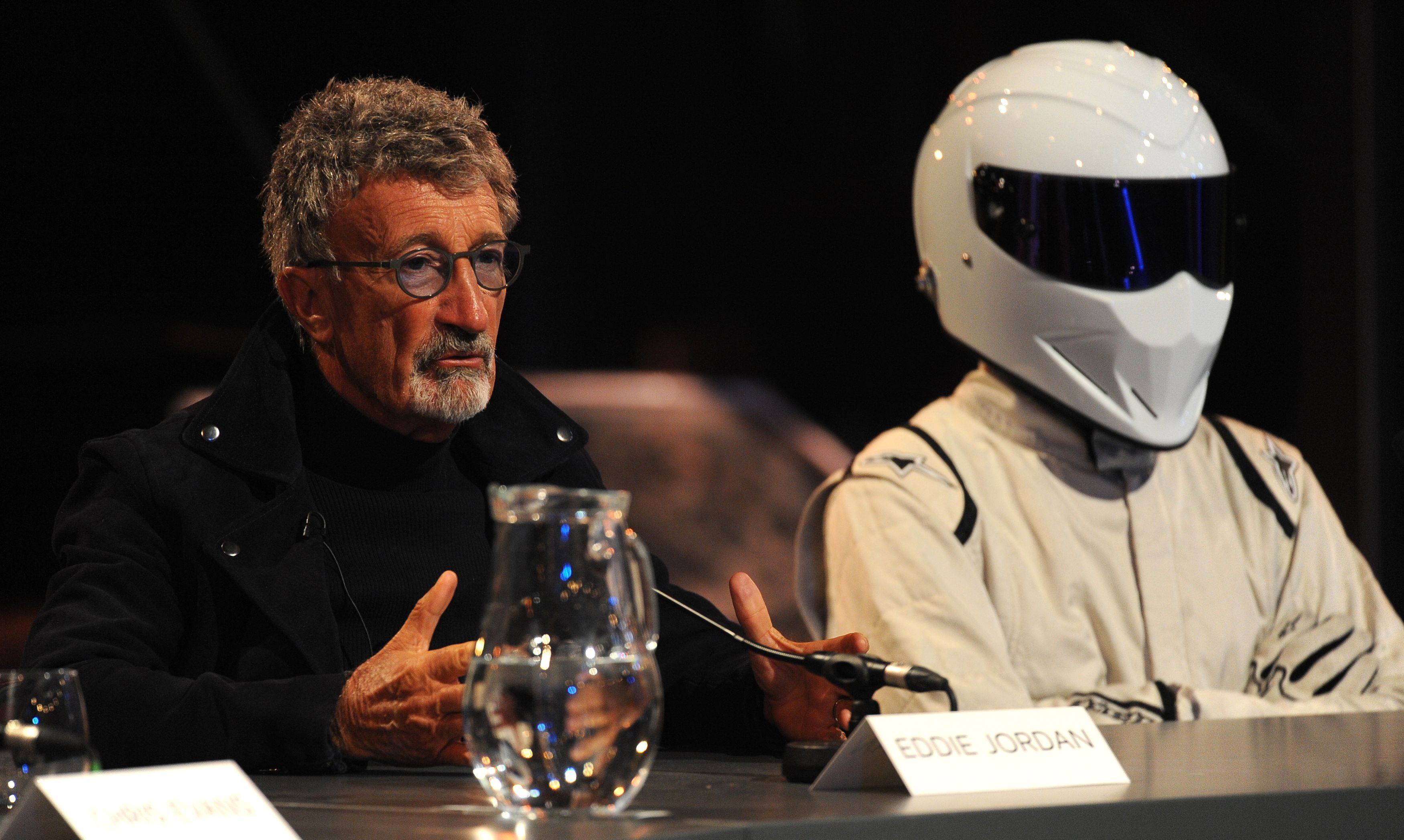 Top Gear presenters Eddie Jordan (left) and The Stig at a press conference (Andrew Matthews/PA)