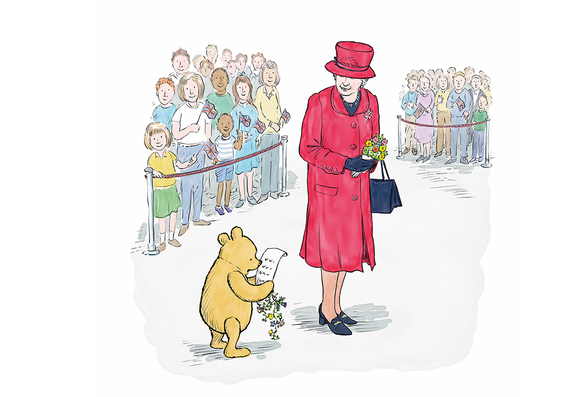 An illustration by Mark Burgess of Winnie-the-Pooh with the Queen (Disney / PA Wire)