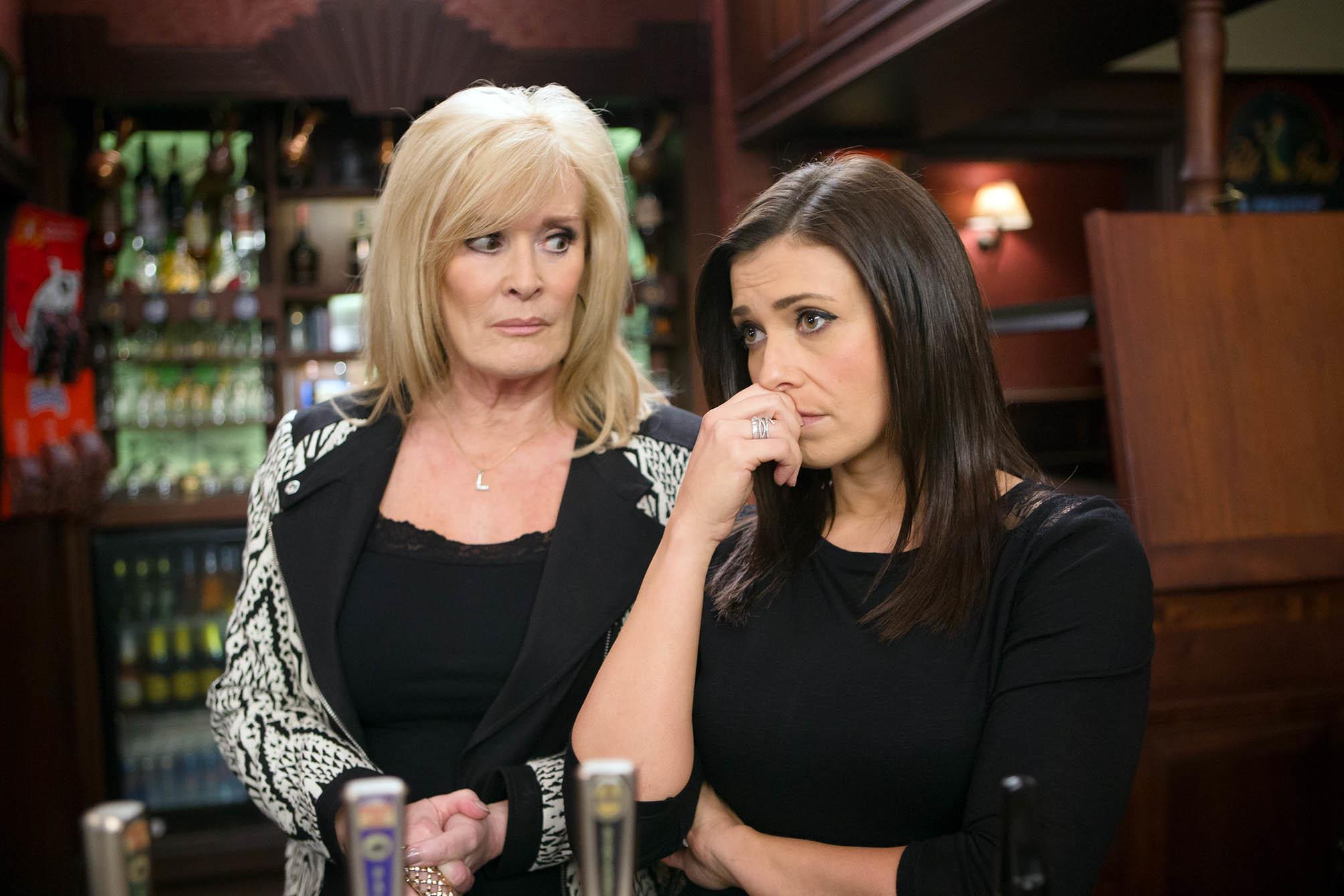 Coronation Street characters Liz McDonald (Beverley Callard) and Michelle Connor (Kym Marsh) (ITV/Mark Bruce)