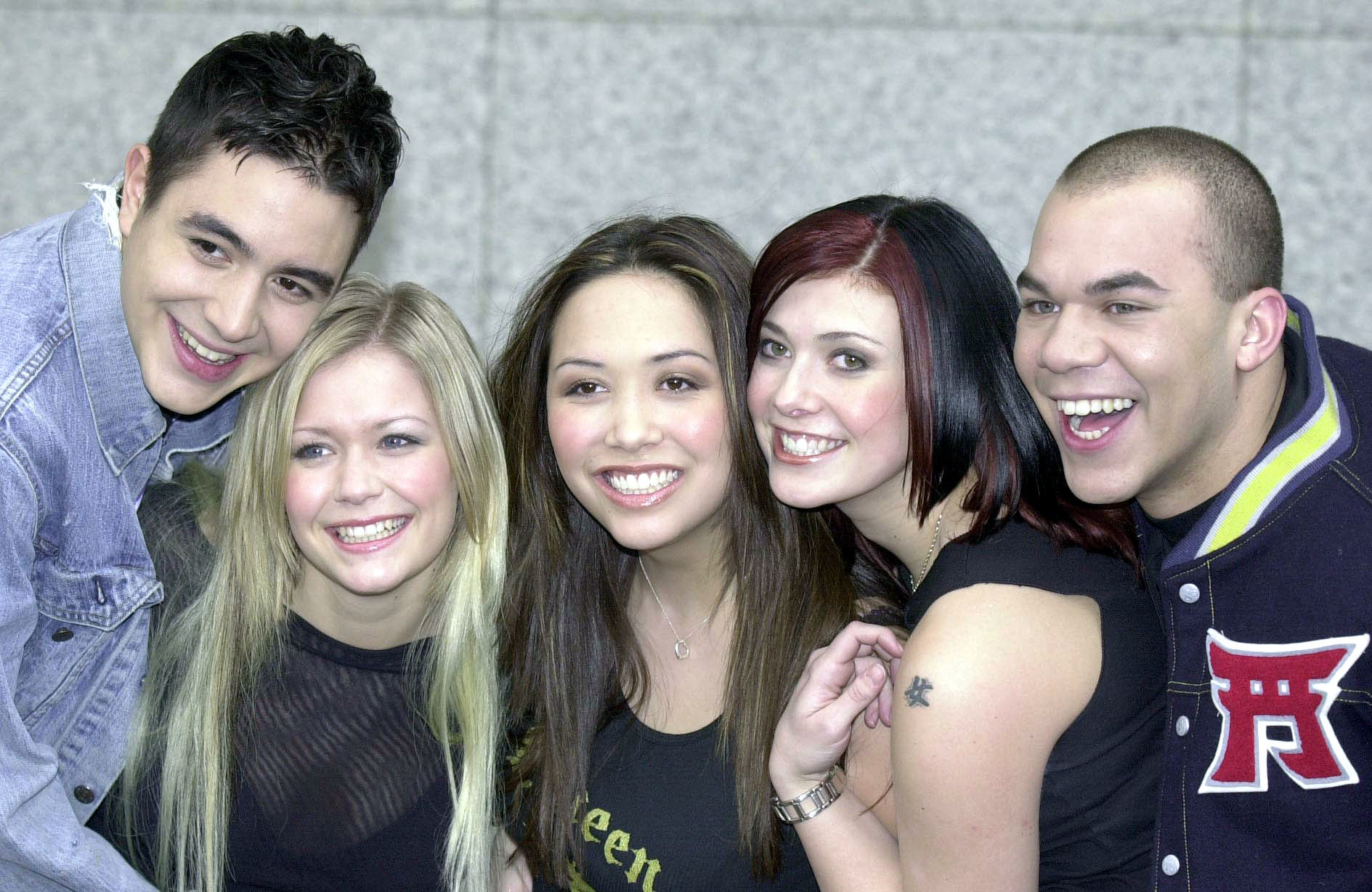 The winners from ITV's Popstars talent search. From the left: Noel Sullivan, Suzanne Shaw, Myleene Klass, Kym Marsh, and Danny Foster (Hear'Say/PA)