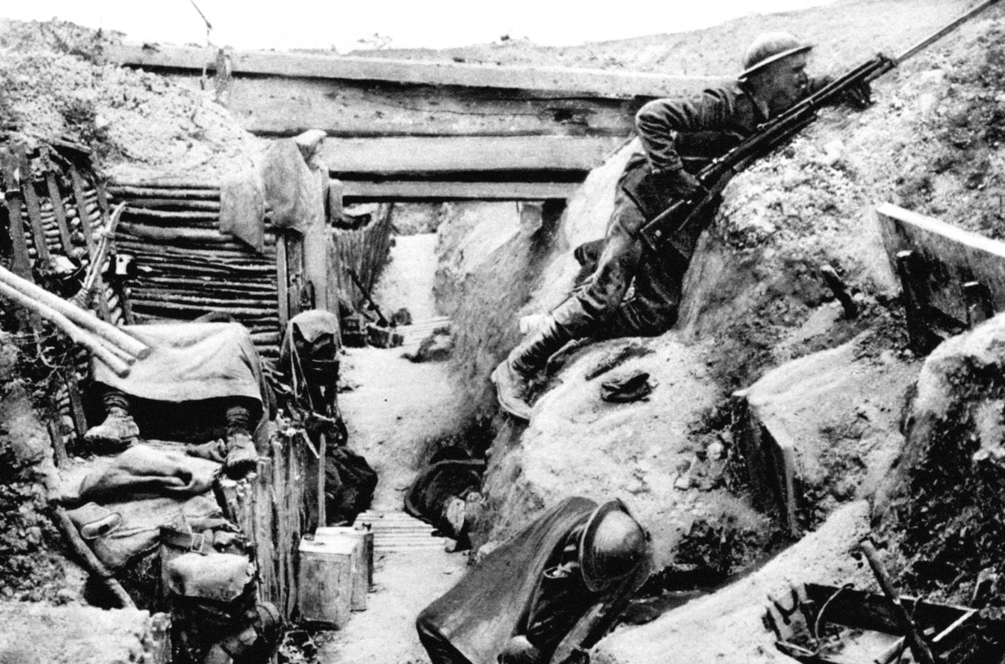 British comrades sleep in a captured German trench at Ovillers, near Albert, during the Battle of the Somme in 1916.