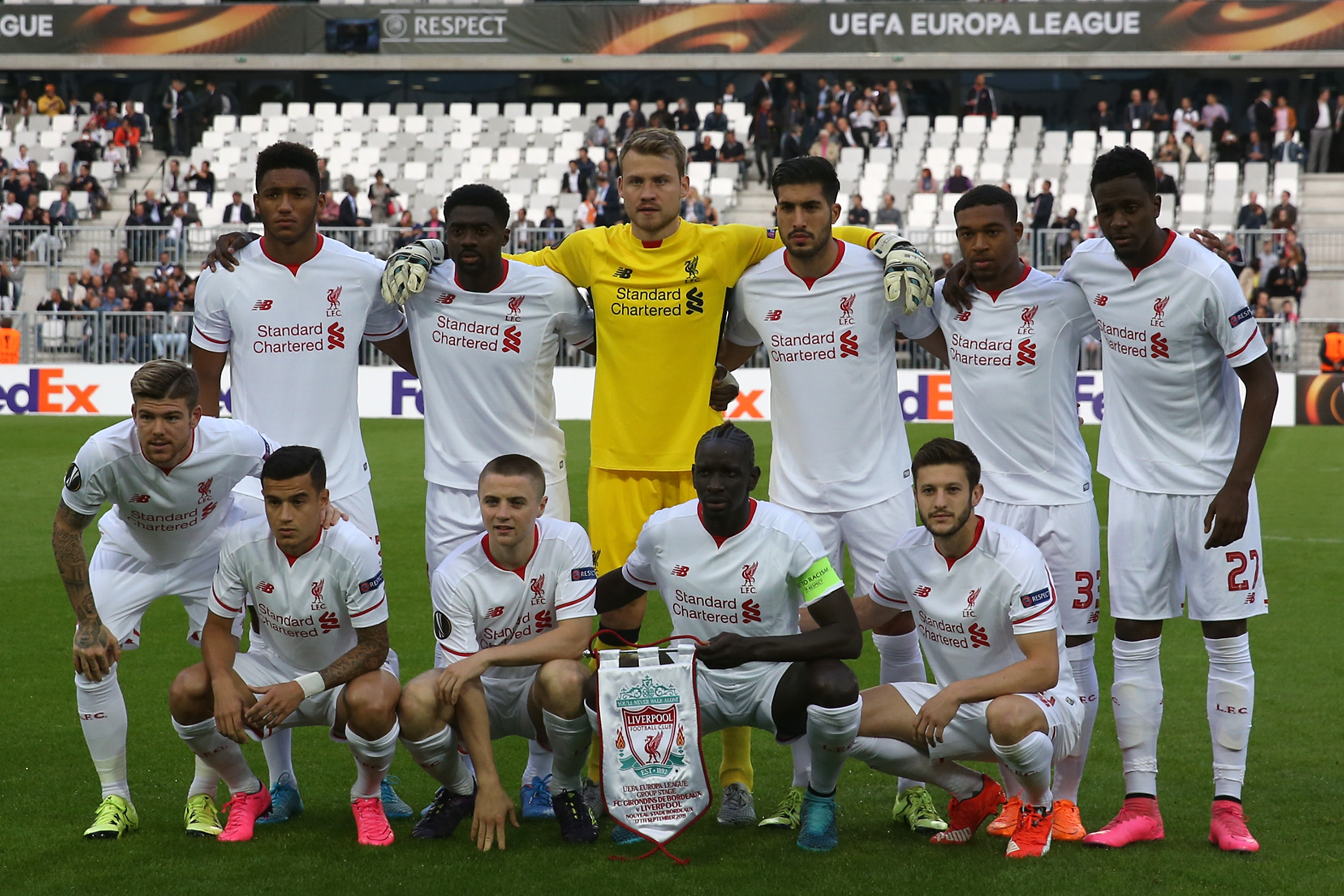 Joe Gomez (back left) and Jordan Rossiter (front, second from the left) line up for Europa League action with Liverpool against Bordeaux back in September (Romain Perrocheau/Getty Images)