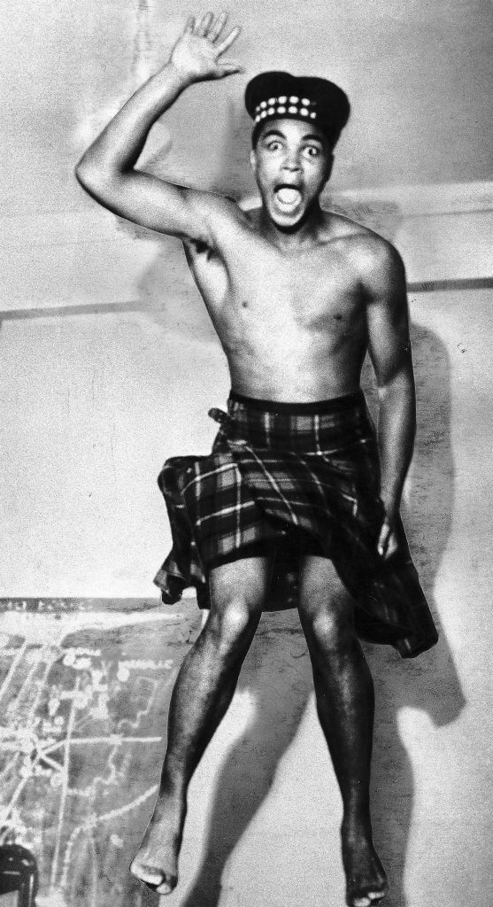 Muhammad Ali in a kilt! (Sunday Mail)