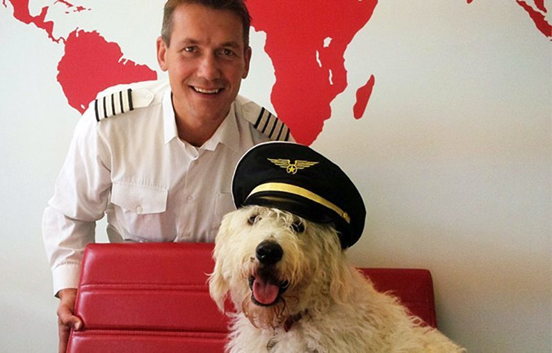 Adam Twidell of PrivateFly with labradoodle Tex, who is a regular presence in their offices.