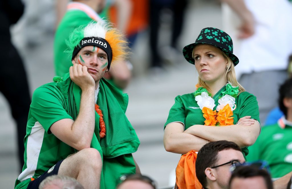 Republic of Ireland fans after defeat to Belgium (Chris Radburn/PA Wire)