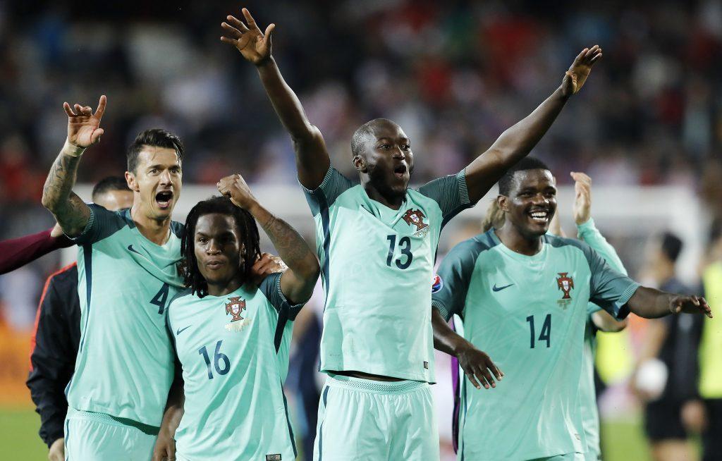 Portugal's Jose Fonte, Renato Sanches, Danilo and William Carvalho celebrate (AP Photo/Frank Augstein)