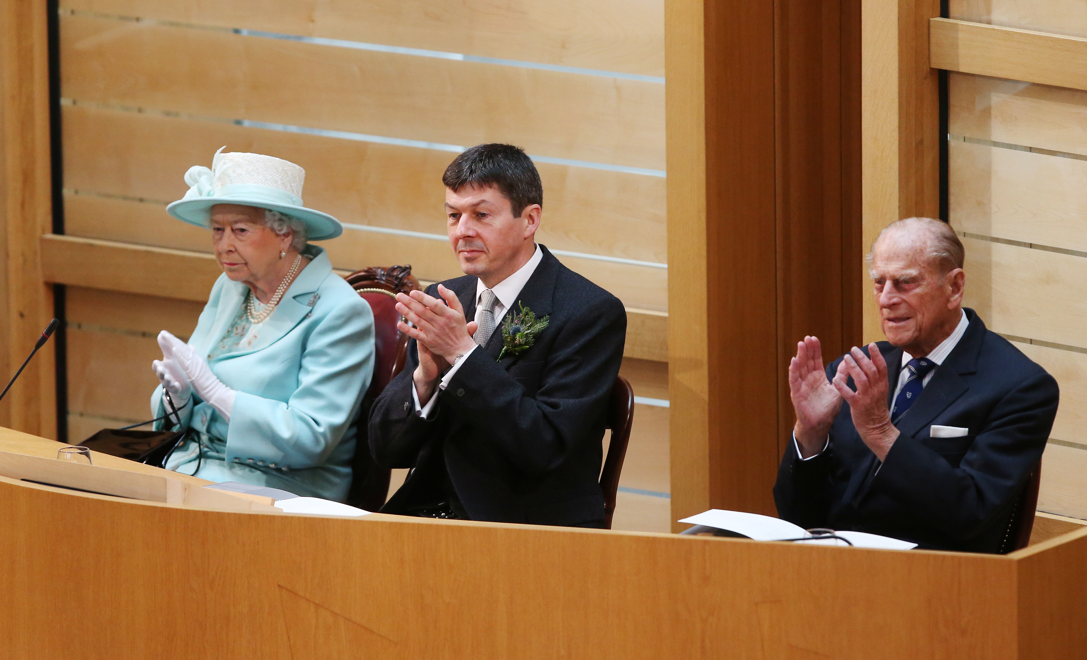 Queen Elizabeth II, Ken Macintosh, Presiding Officer of the Scottish Parliament and Prince Philip (Andrew Milligan/WPA Pool/Getty Images)