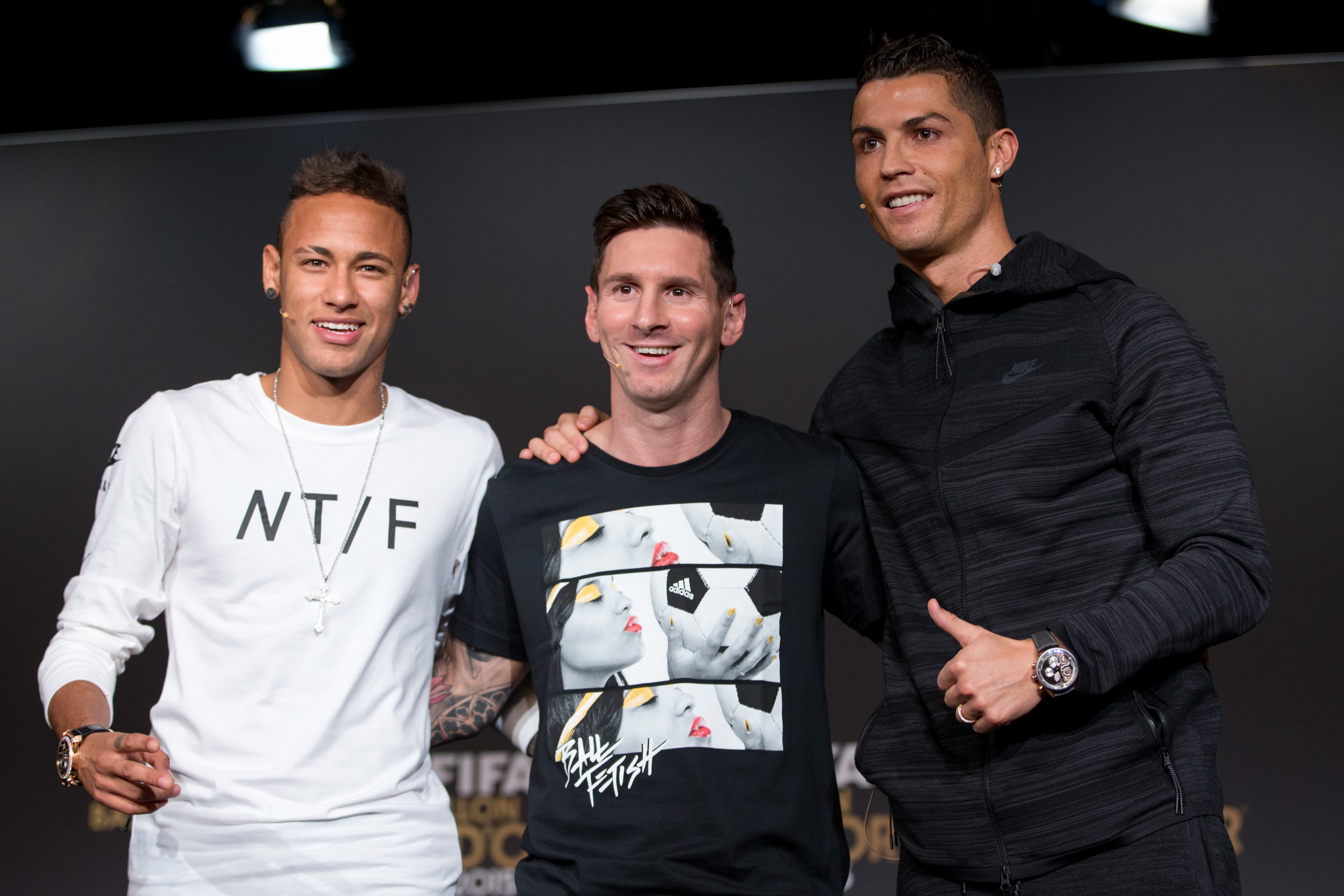 Neymar, Lionel Messi and Cristiano Ronaldo (L-R) (Philipp Schmidli/Getty Images)