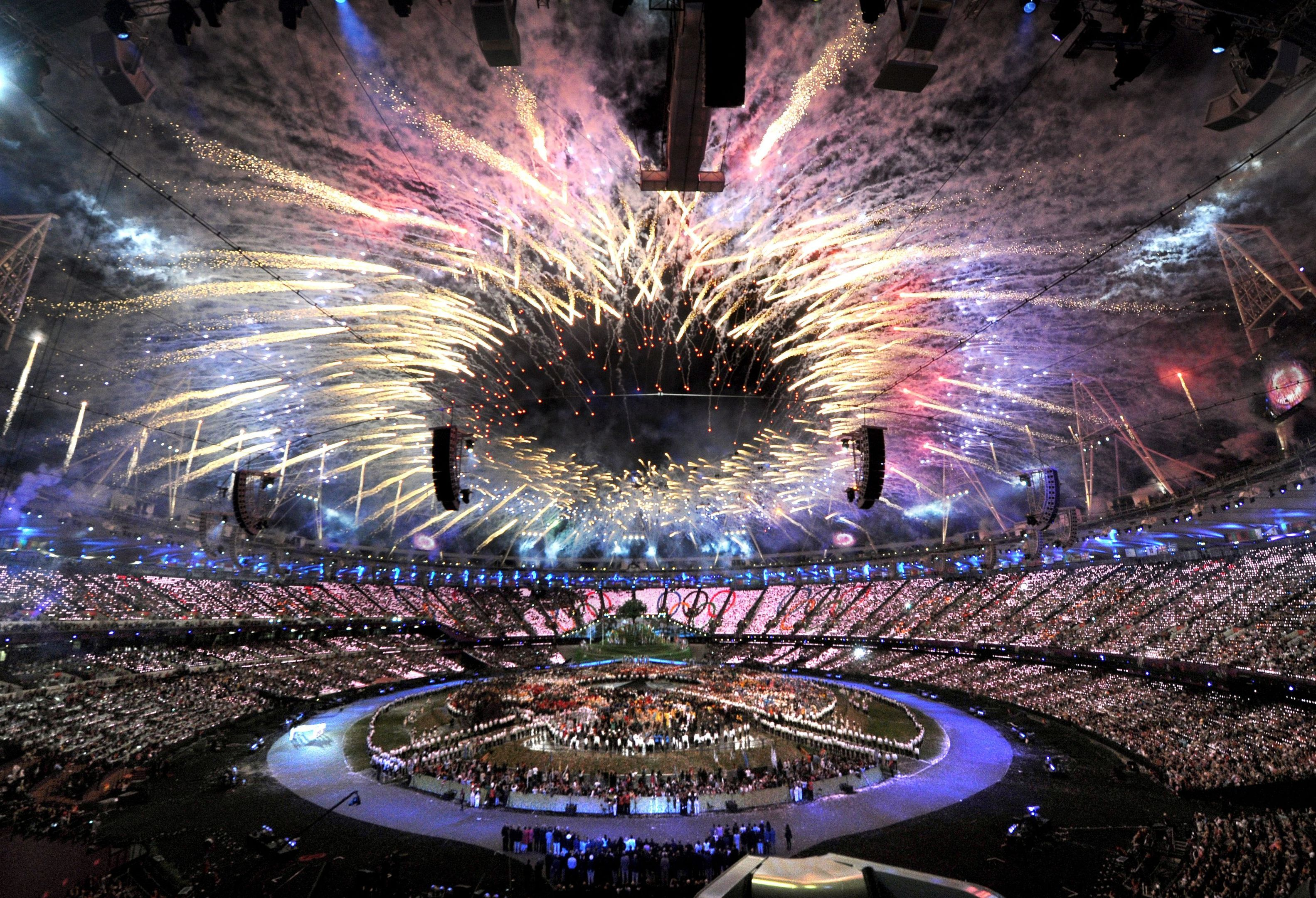 Fireworks mark the opening of the London Olympic Games 2012 (Anthony Devlin/PA Wire)