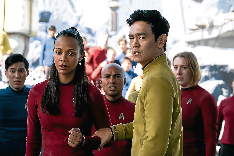 Zoe Saldana plays Uhura and John Cho plays Sulu (PA Photo/Paramount Pictures)