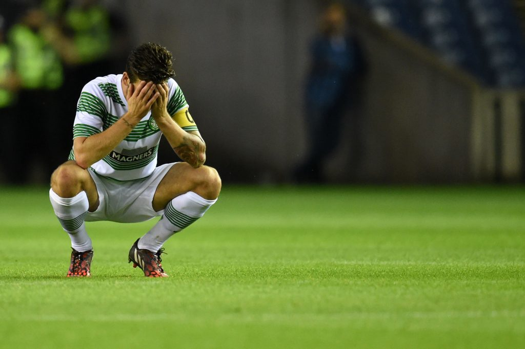 Celtic captain Charlie Mulgrew in the aftermath of defeat to Legia Warsaw (SNS Group)