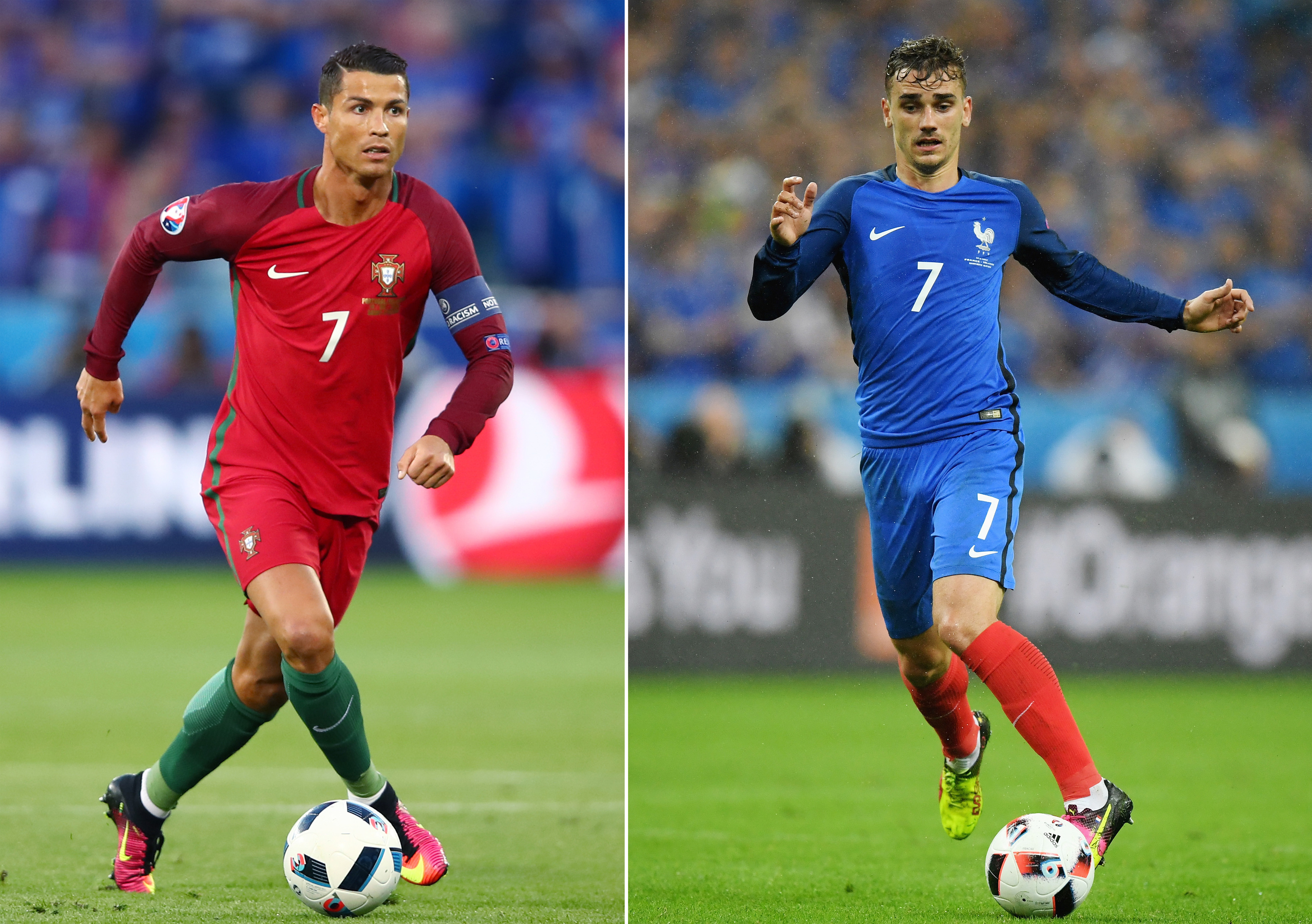 Cristiano Ronaldo of Portugal (L) and Antoine Griezmann of France. (Matthias Hangst/Getty Images)