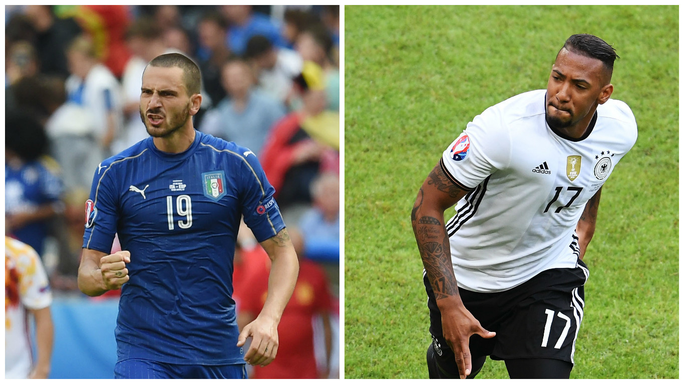 Leonardo Bonucci (L)and Jerome Boateng (Claudio Villa & Matthias Hangst/Getty Images)