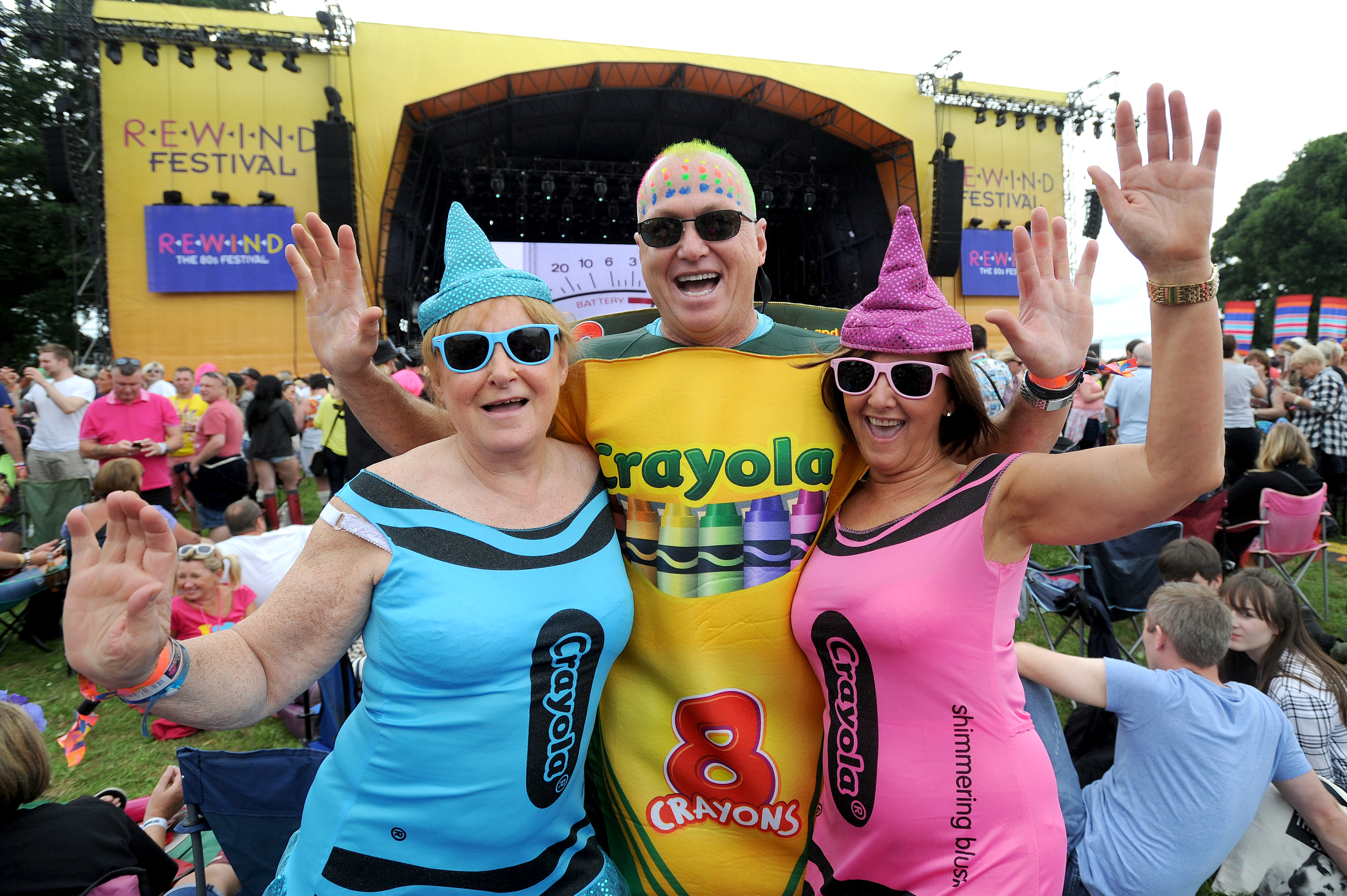 The annual Rewind music festival Saturday where 80's music lovers enjoyed the weekend. L to R - Liz McGuiness, Howie Aitkinson and Marion Aitken (Kim Cessford / DC Thomson)