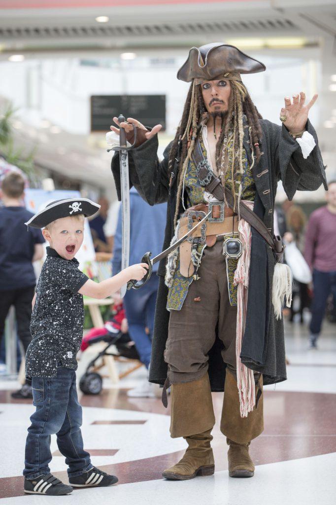 'Jack Sparrow' teams up with Harry Trowbridge, age 4, from Renfrew (Jeff Holmes)