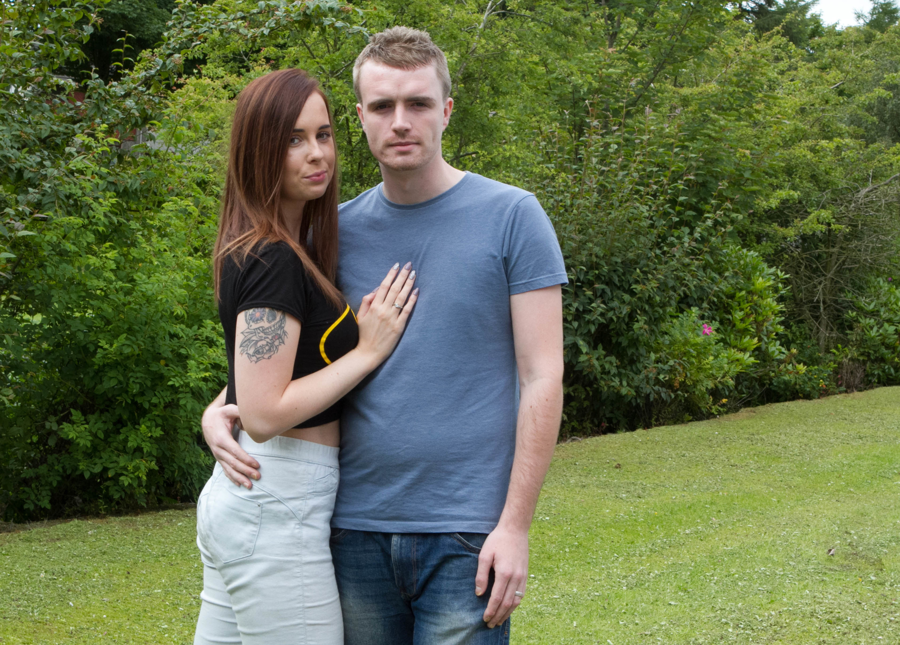 Robbie Stirling was attacked outside Kittys nightclub 4 years ago - pictured with fiancee Krystal (C Austin/ DcThomson)