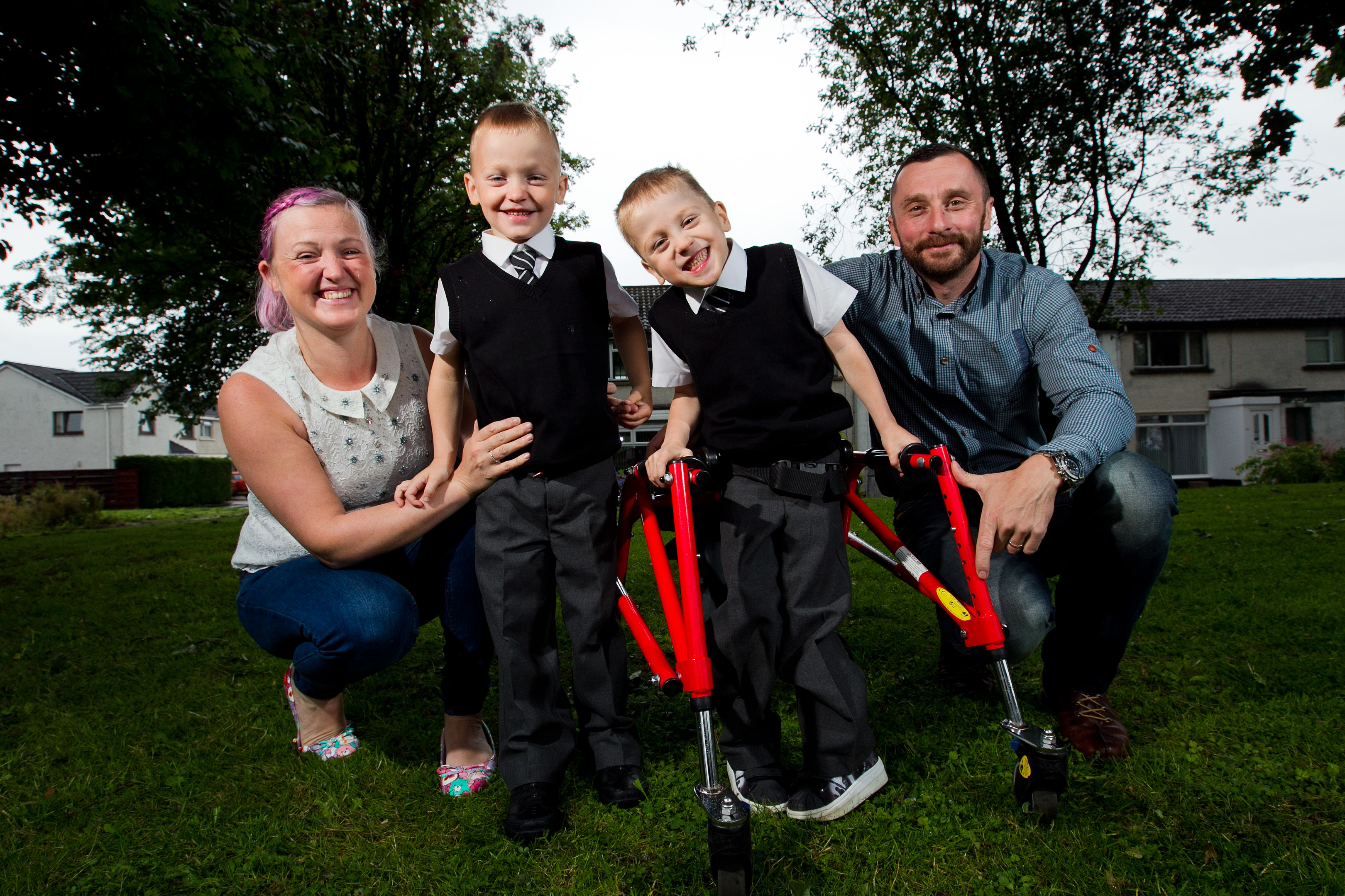 Alfie McAusland with brother Blair, and parents, Chris and Natalie (Andrew Cawley/Sunday Post)
