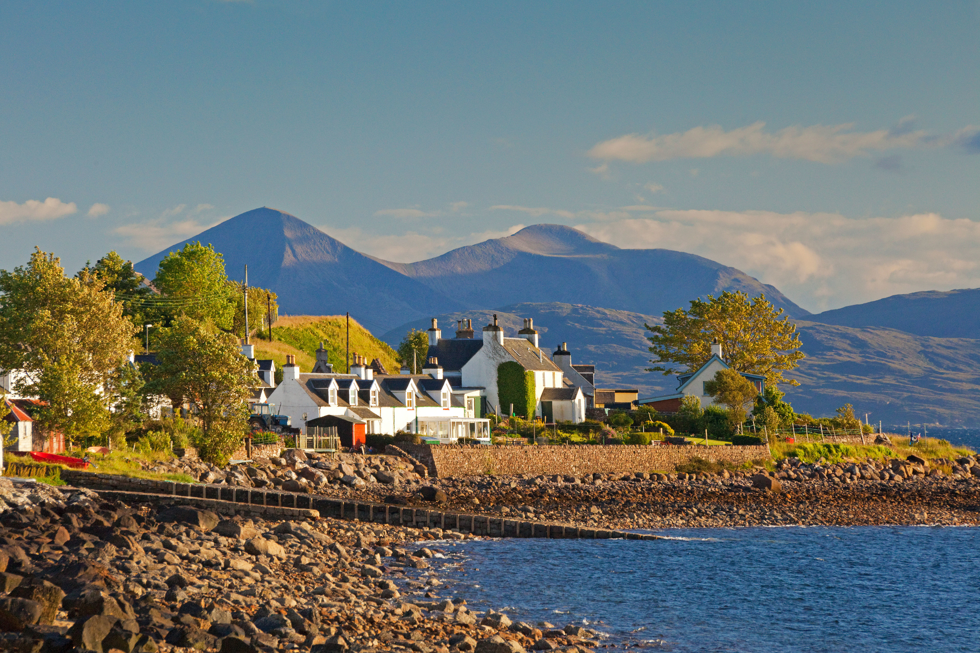 Cottages at Applecross and the mountains of South Skye