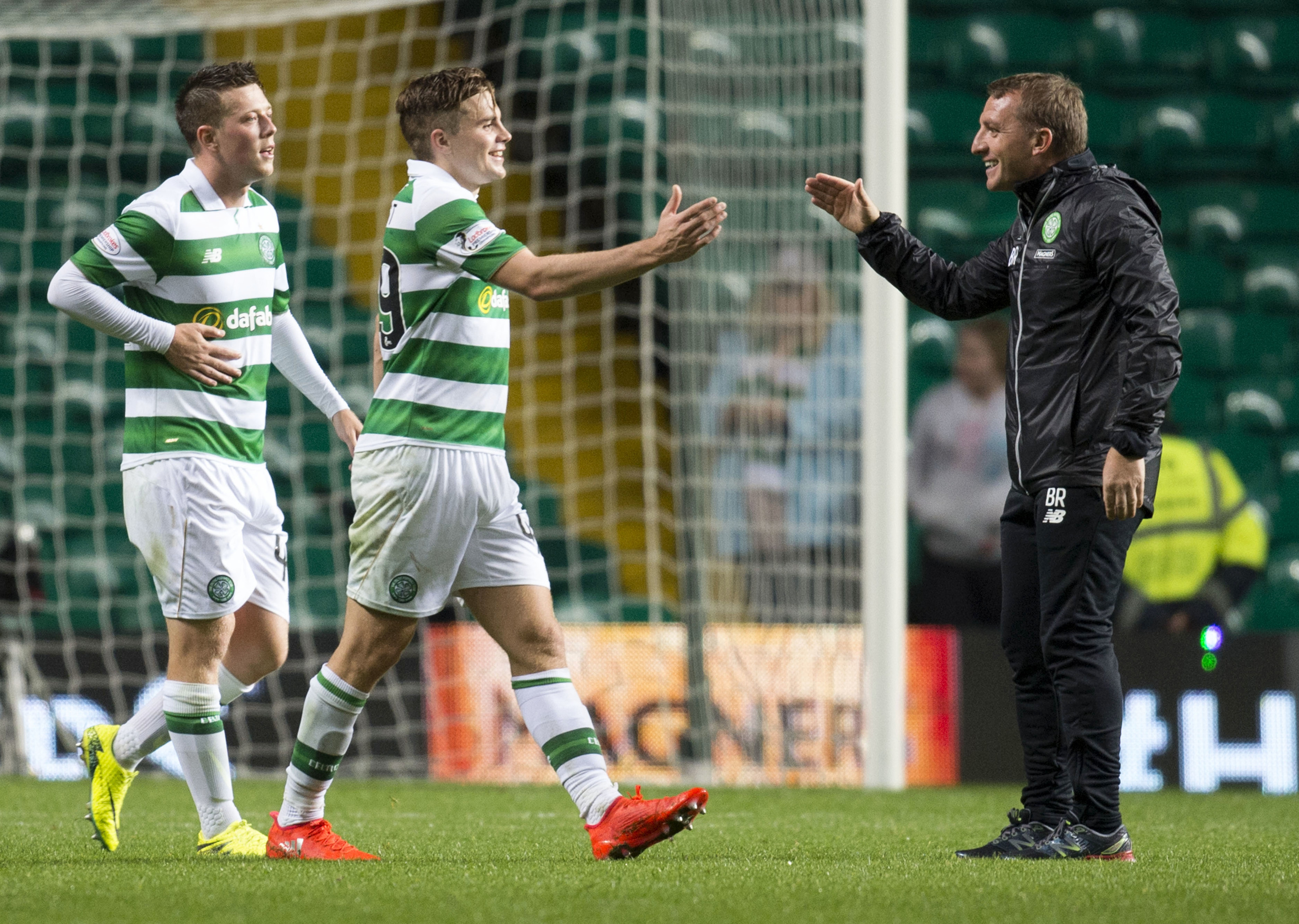 Celtic manager Brendan Rodgers (right) with James Forrest (SNS Group / Rob Casey)