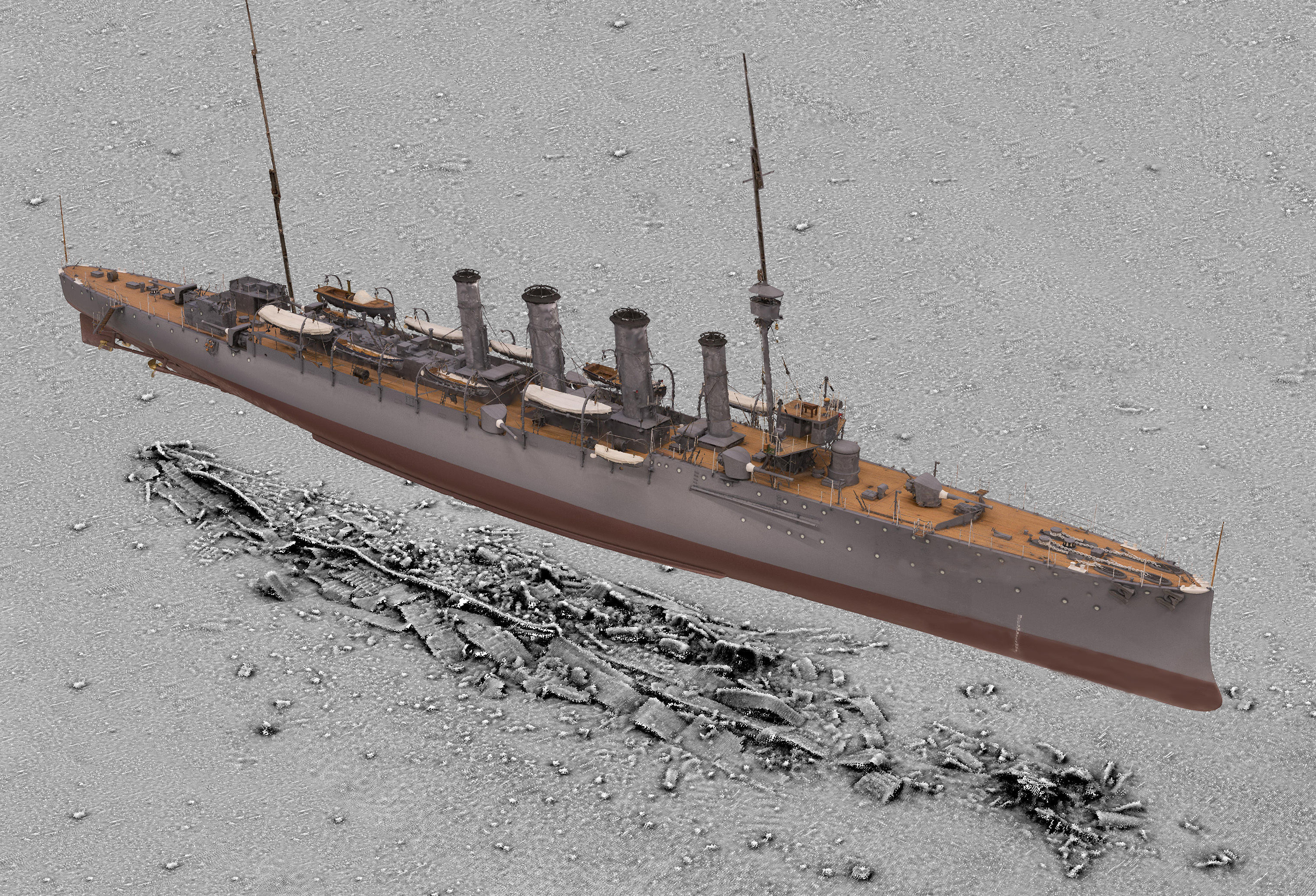 3D scan of HMS Falmouth superimposed on a seabed survey of the wreck (Historic England/PA Wire)