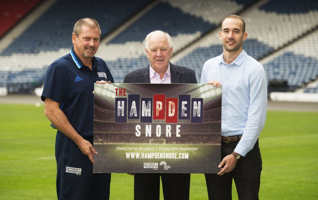Ally Dawson from Street Soccer Scotland, Craig Brown and Ally Forbes from Bethany Christian Trust (SNS Group / Craig Foy)