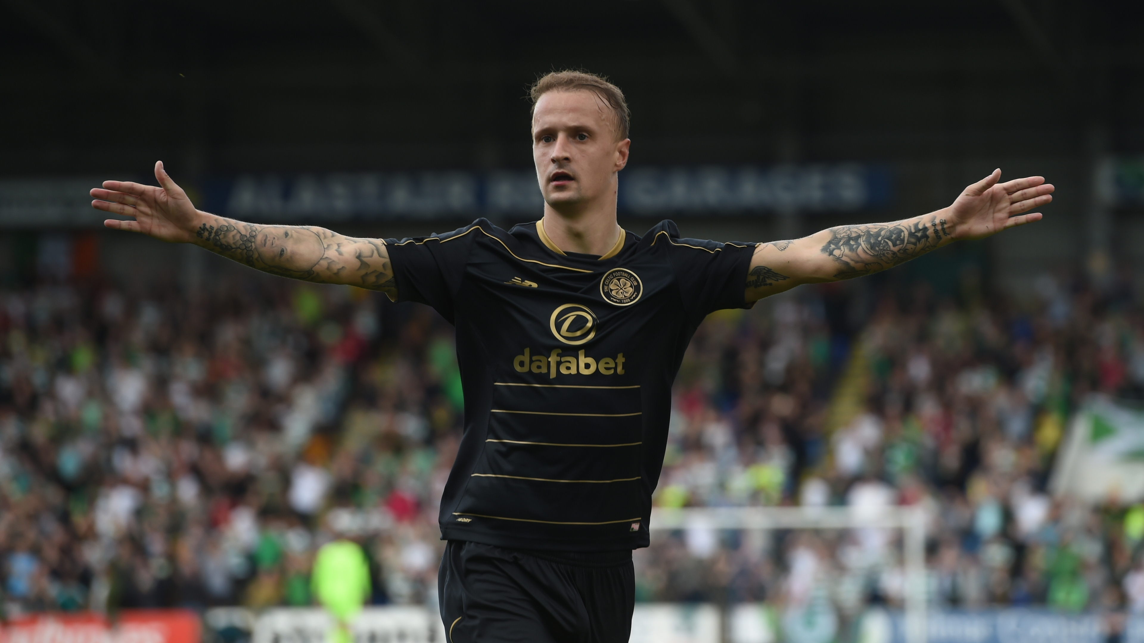 Celtic's Leigh Griffiths celebrates opening the scoring (SNS Group / Craig Foy)