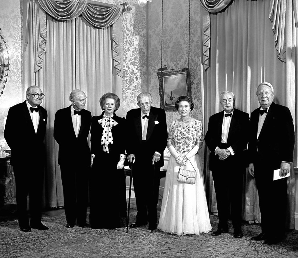 (L-R) James Callaghan, Lord Home, Harold Macmillan, Margaret Thatcher, Lord Stockton, the Queen, Lord Wilson and Edward Heath (PA Archive)