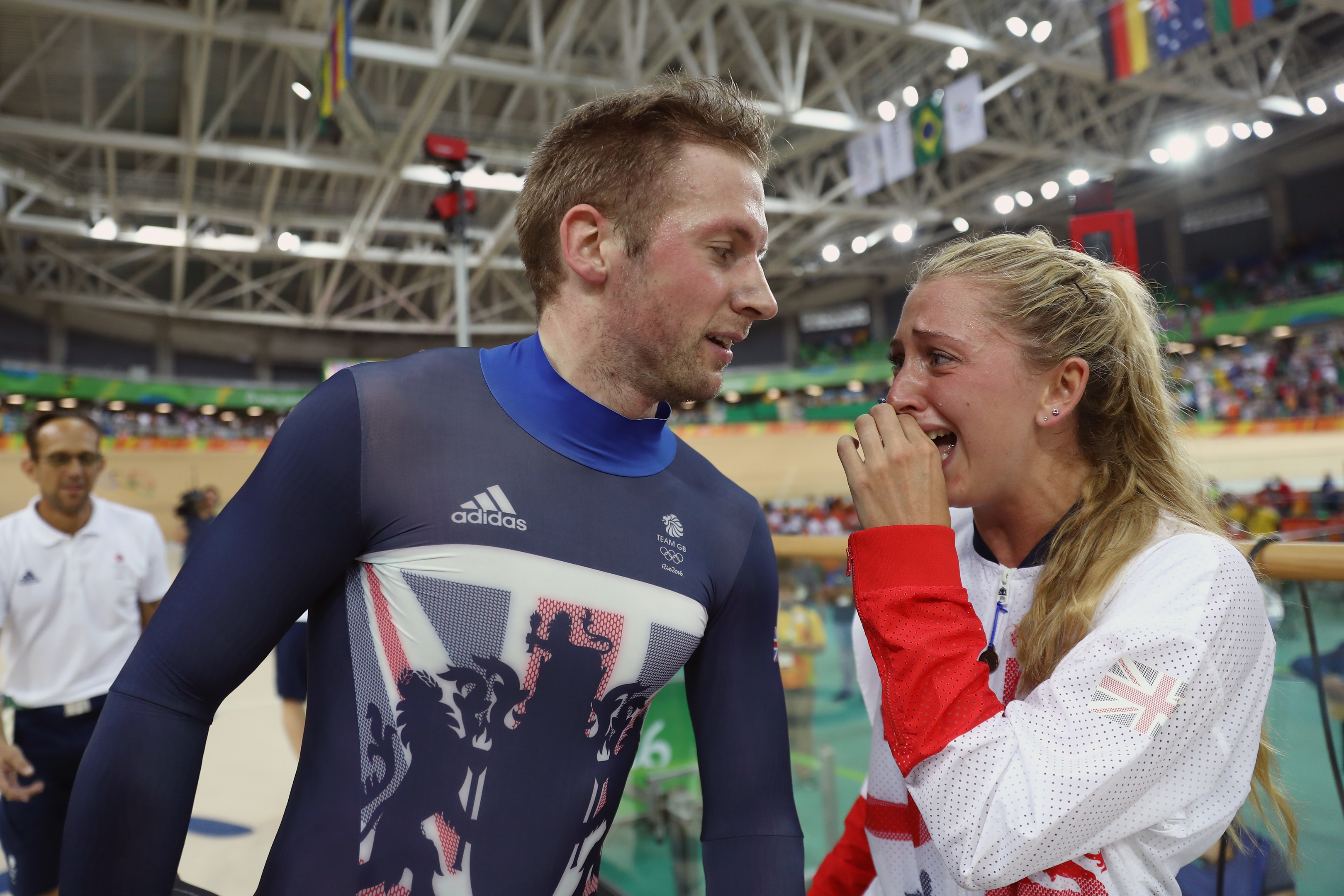 Gold medalist Jason Kenny of Great Britain celebrates with girlfriend, cycling gold medalist Laura Trott of Great Britain (Bryn Lennon/Getty Images)