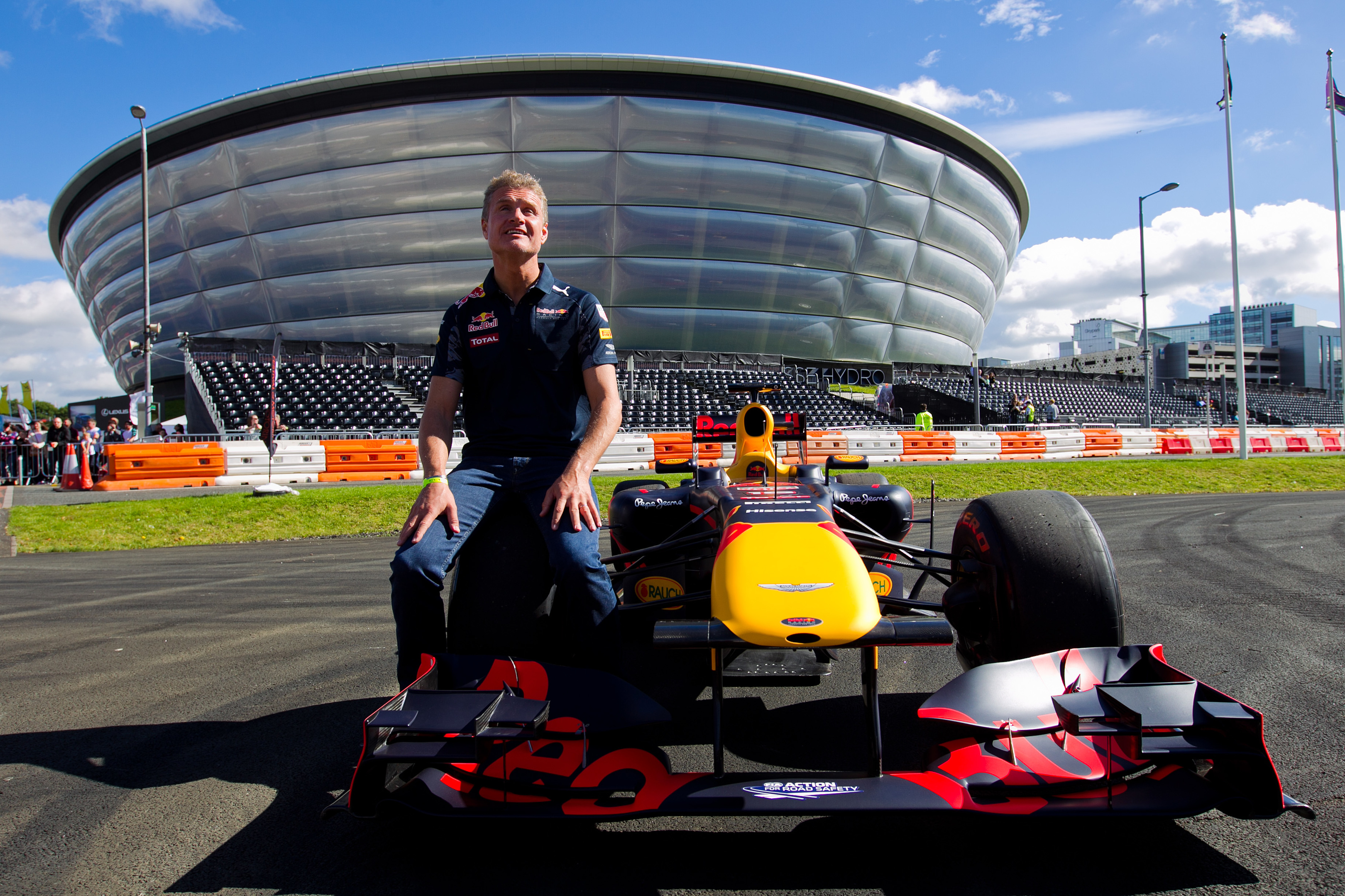 David Coulthard with F1 car at Ignition Festival car show at The SECC / SSE Hydro Arena, in Glasgow (Andrew Cawley/Sunday Post)