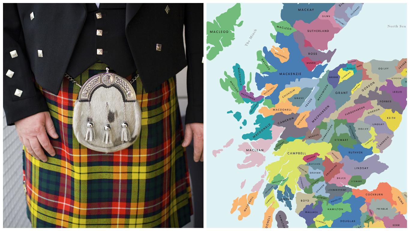 Lochcarron's clan map (Getty Images & Lochcarron)