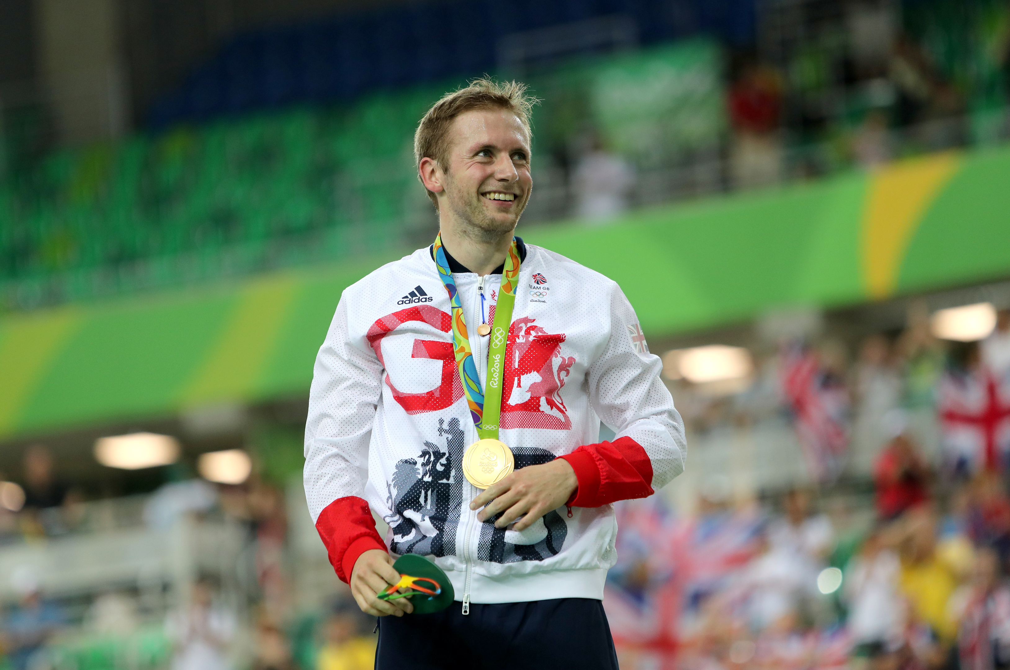 Great Britain's Jason Kenny on the podium after winning the gold medal in the Men's Keirin Final at the Rio Olympic Velodrome (PA)