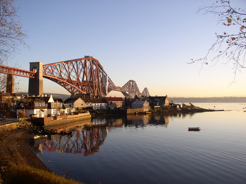 Fife Bridge view from North Queensferry at dusk
