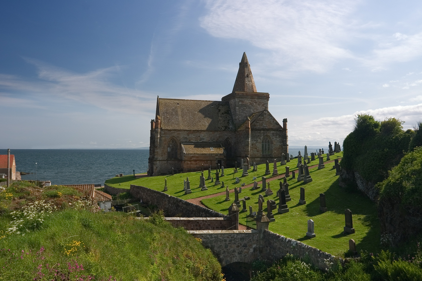 The ancient thirteenth century coastal church beside the North Sea at St. Monans, Fife, Scotland