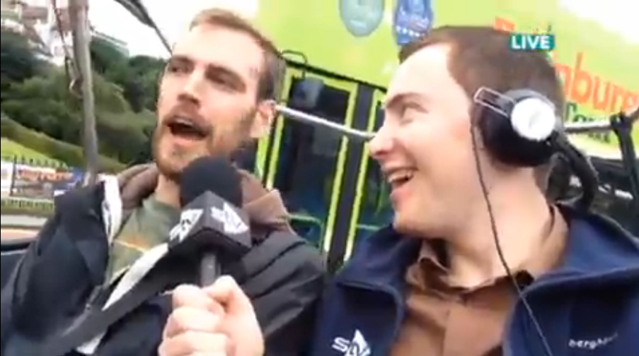 Tyler Collins (left) with STV reporter