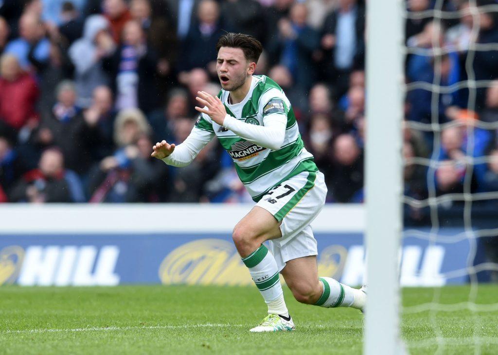 Dejection for Celtic's Patrick Roberts as he misses an open net against Rangers (SNS Group / Craig Foy)