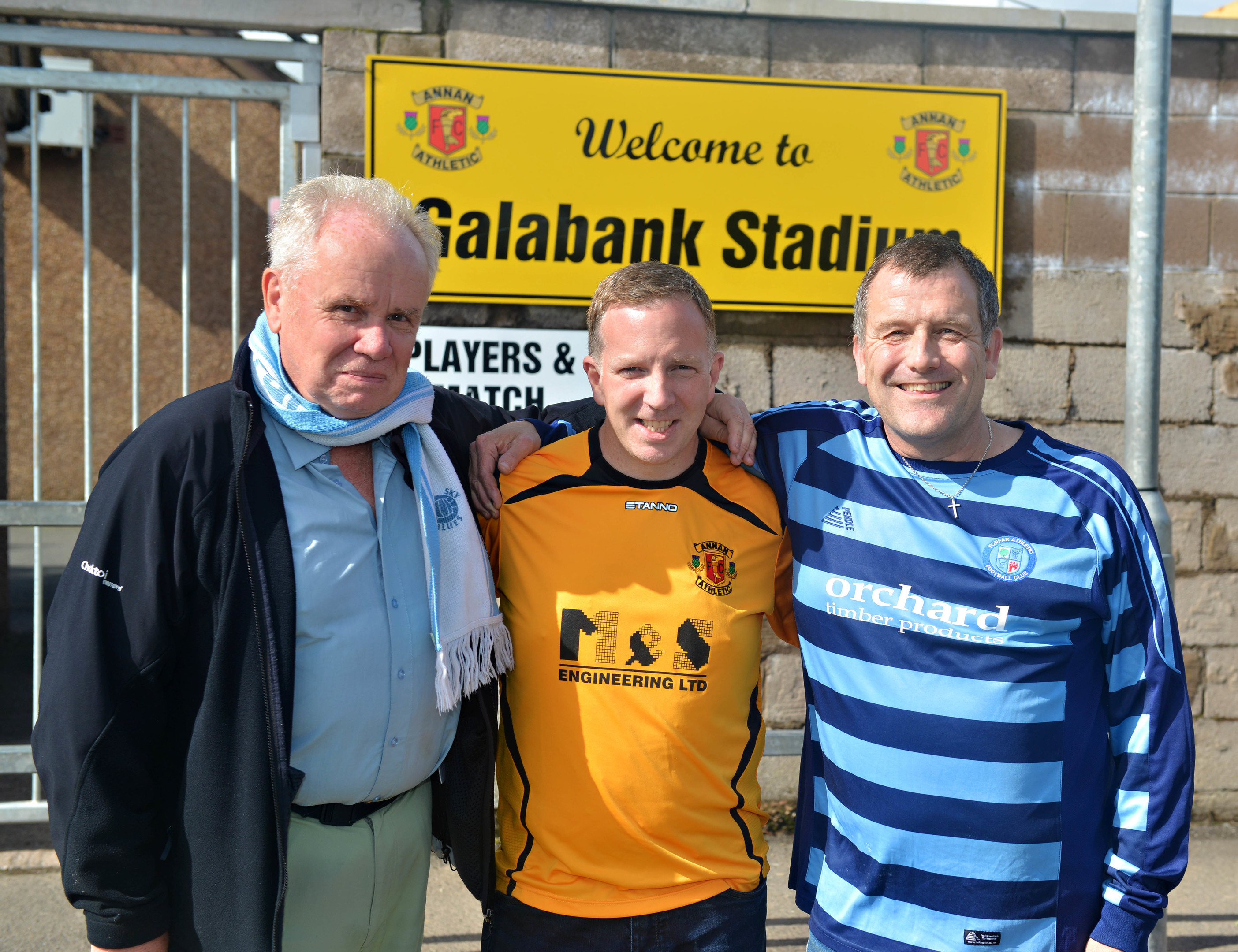 Football fans Owen Mountford, Chris Vickers and Robin Walters visit Annan's Galabank Stadium (Billy White / SportPix.org.uk)
