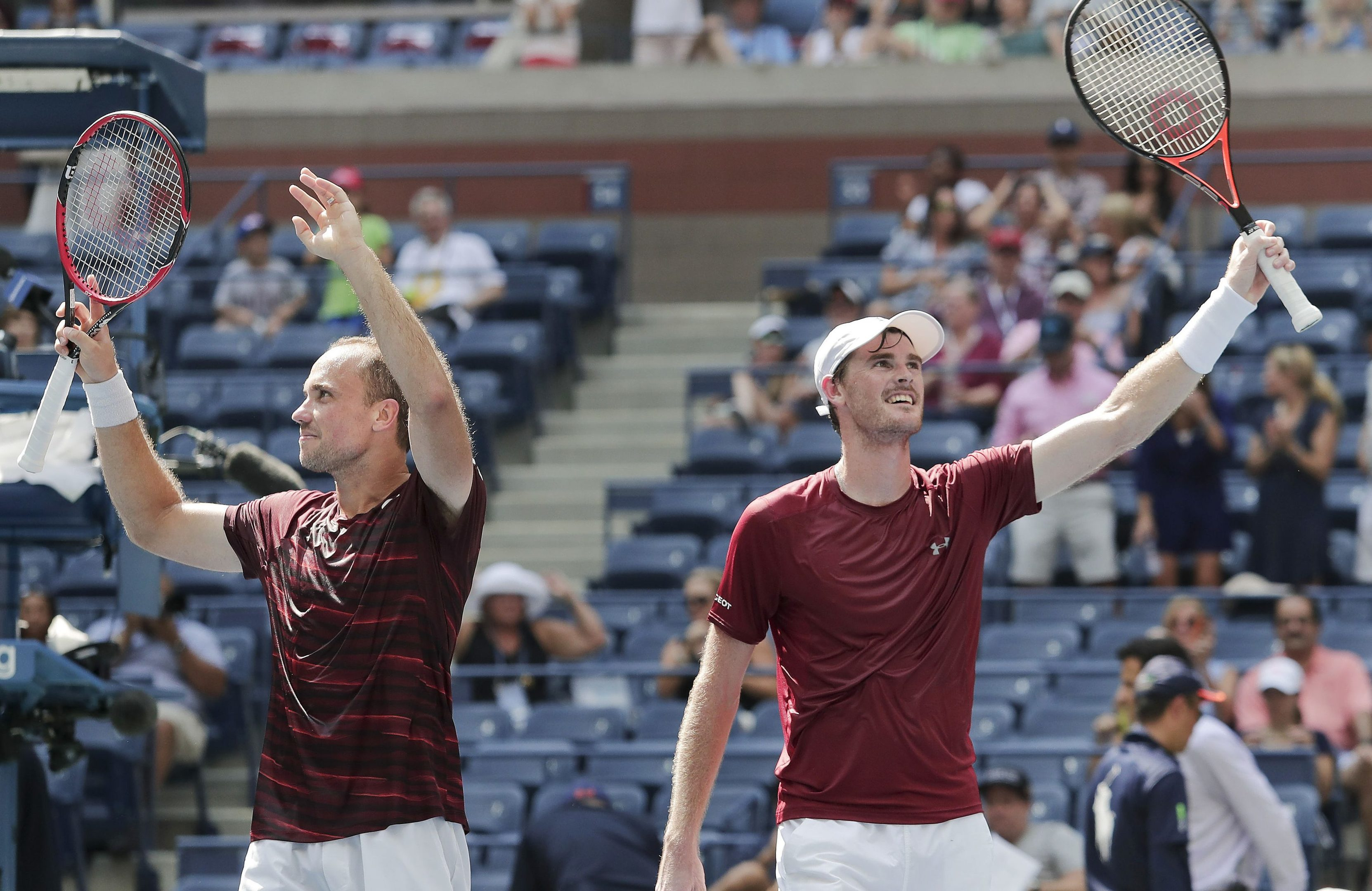Bruno Soares,left, and Jamie Murray celebrate (AP Photo/Julie Jacobson)