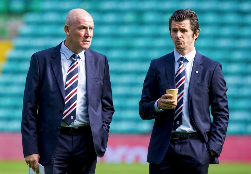 Rangers manager Mark Warburton (left) with Joey Barton (SNS Group)