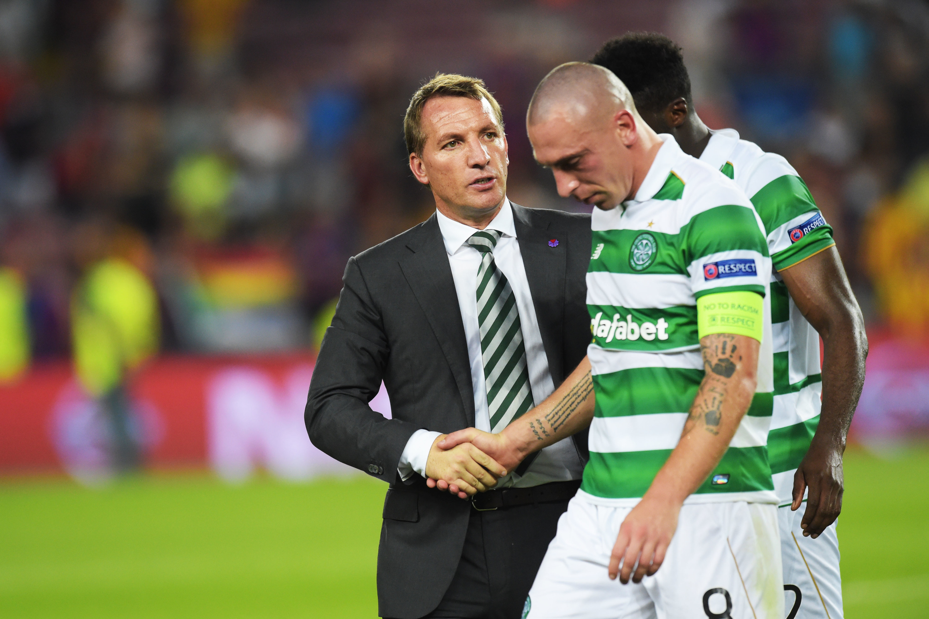 Celtic manager Brendan Rodgers consoles Scott Brown at full time (SNS Group / Craig Williamson)