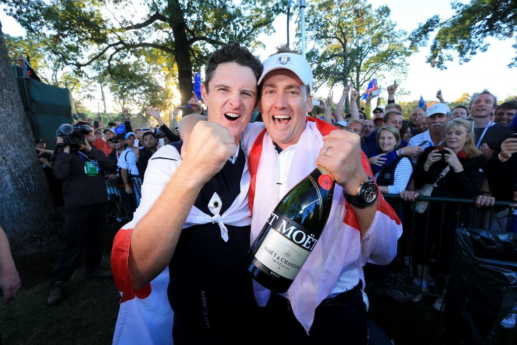 Justin Rose and Ian Poulter celebrate in 2012 (David Cannon/Getty Images)
