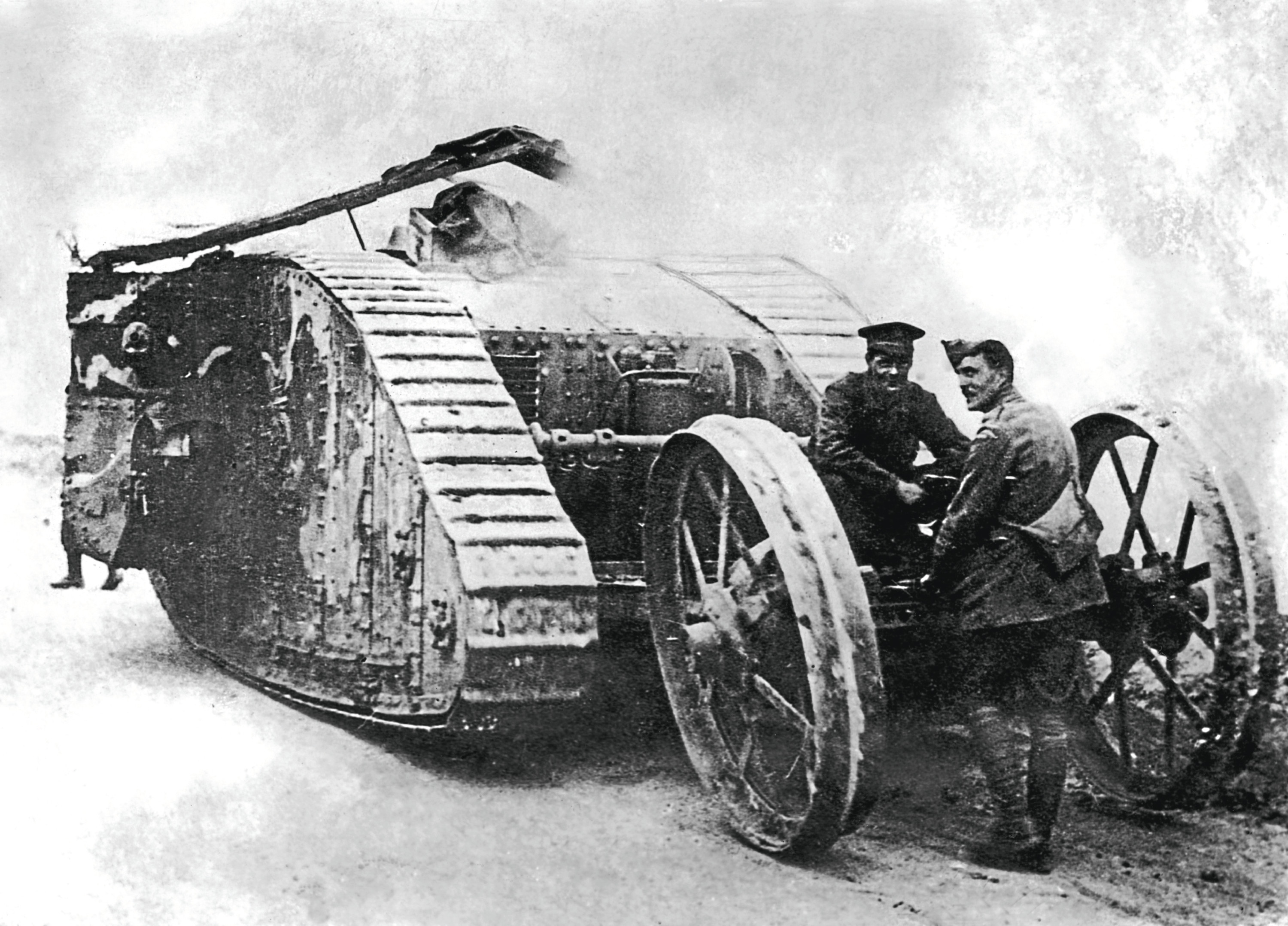 A British Mark I tank, the first ever military vehicle of this kind, 1916. (Topical Press Agency/Hulton Archive/Getty Images)