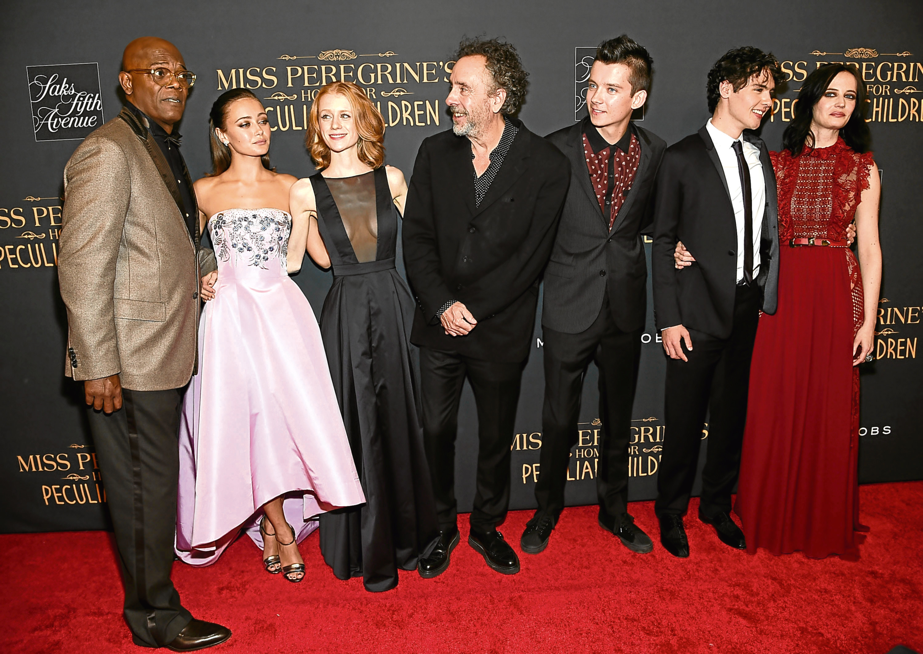 Jackson (left) with the cast of Miss Peregrine's Home For Peculiar Children (Jamie McCarthy/Getty Images)