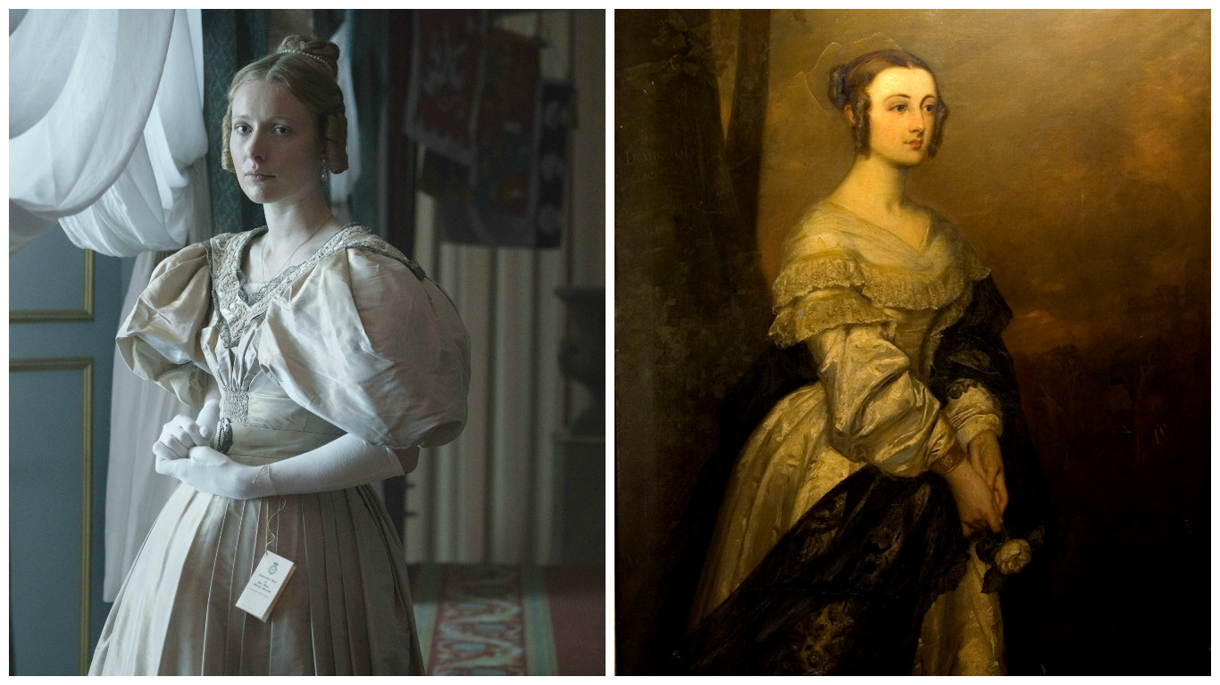 Lady Flora Hastings (Left: Alice Orr Ewing playing Lady Flora Hastings in Queen Victoria by ITV; Right: Lady Flora Hastings)