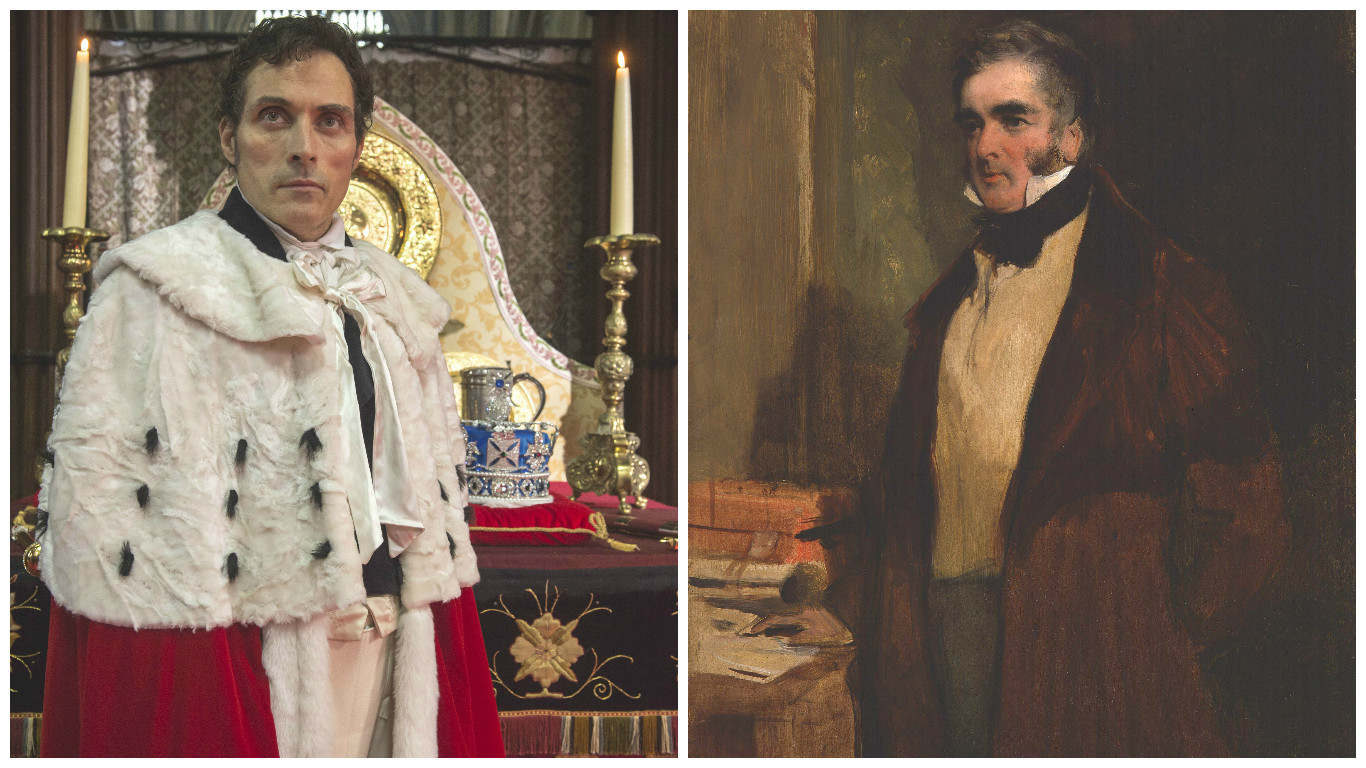 Lord Melbourne (Left: Rufus Sewell playing Lord Melbourne in Queen Victoria, by ITV; Right: Lord Melbourne)